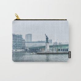 Snownfall over Replica of the Statue of Liberty in Paris Carry-All Pouch