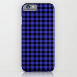 Original Cornflower Blue and Black Rustic Cowboy Cabin Buffalo Check iPhone Case