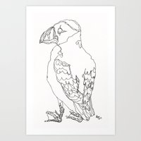 puffin Art Prints featuring Puffin by Alice Suttle
