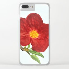 Bright Red Plumb Blossom Clear iPhone Case