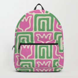 Mid Century Flower Garden Pattern 381 Pink and Green Backpack