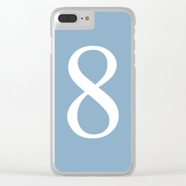 number eight sign on placid blue color background Clear iPhone Case