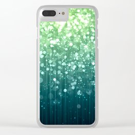 Spring Teal Green Sparkles Clear iPhone Case