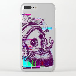 Human skull glitch Clear iPhone Case