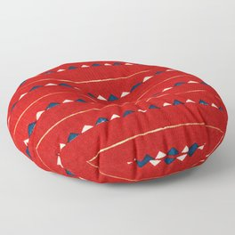 Triangles On Red Background Japanese Shima-Shima Pattern Floor Pillow
