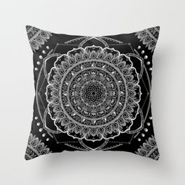 Black and White Geometric Mandala Throw Pillow