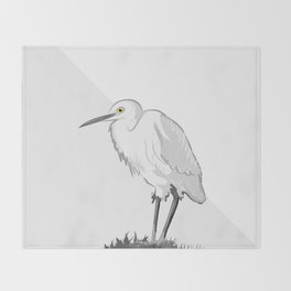 Grey Heron Minimalist Throw Blanket
