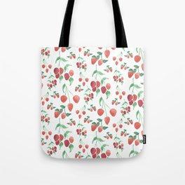 Watercolor Strawberries Tote Bag
