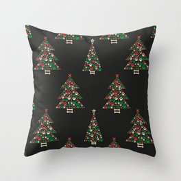 Made of paw print Christmas tree. Christmas and Happy new year seamless fabric design pattern background Throw Pillow
