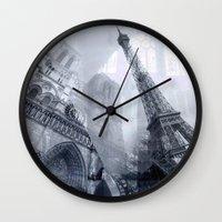 paris Wall Clocks featuring Paris by S.Svetlankova