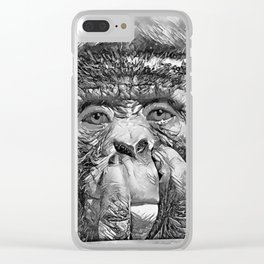 AnimalArtBW_Chimpanzee_20170902_by_JAMColorsSpecial Clear iPhone Case
