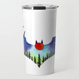 Bat man galaxy watercolor painting art Travel Mug