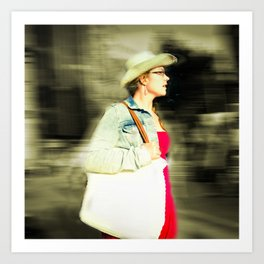 She is proud with her straw hat Art Print