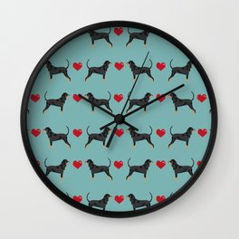 Coonhound love hearts valentines day cute dog breed gifts for coonhounds Wall Clock