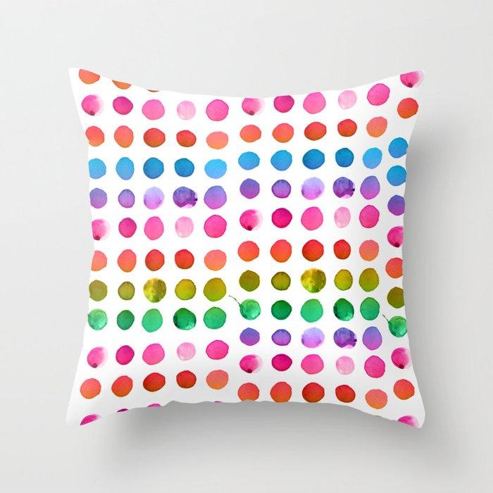 Rainbow Watercolor Throw Pillow