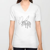 the wire V-neck T-shirts featuring Wire Moose by RoverElk