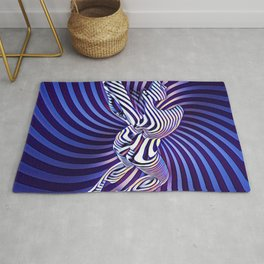 0474s-MM Sensual Woman on Knees Abstract Nude Figure Op Art Blue Topographic Feminine Power Revealed Rug