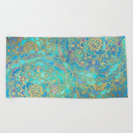 Sapphire & Jade Stained Glass Mandalas Beach Towel