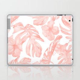 Tropical Palm Leaves Hibiscus Flowers Coral Pink Laptop & iPad Skin