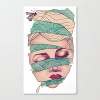 knit Canvas Prints featuring Knit Head by AW Illustrations