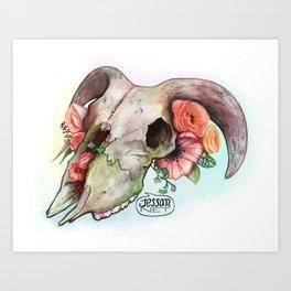 Goat skull & flowers Art Print