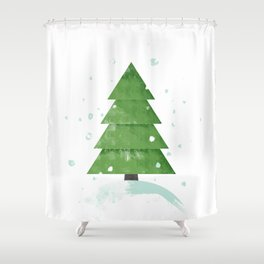 Christmas tree on the top of the snowy hill  Shower Curtain