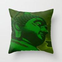 buddah Throw Pillows featuring Buddah Head 02; Green  by Kether Carolus