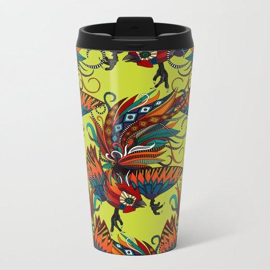 rooster ink chartreuse Metal Travel Mug
