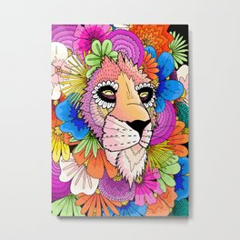 Flower Lion Metal Print