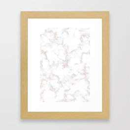 Rose Gold Marble Natural Stone Gold Metallic Veining White Quartz Framed Art Print