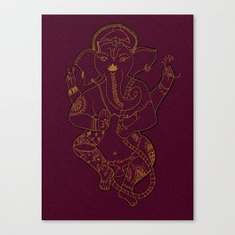 Ganesha Red and Gold Canvas Print