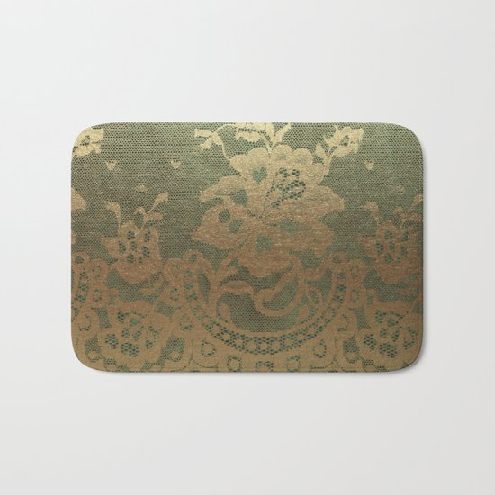 Green Lace Velvet Bath Mat
