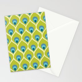 Modern Peacock Feather Blue Green Abstract Pattern Stationery Cards