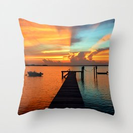Fire & Ice is an Award Winning Magazine Cover Sunset w/ Clouds Sky Shot with strong Red & Blue Sky Throw Pillow