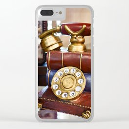 Vintage telephone with dial Clear iPhone Case