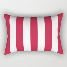 Cardinal fuchsia - solid color - white vertical lines pattern Rectangular Pillow