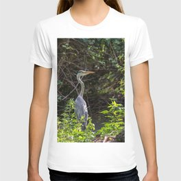 Gray heron on the edge of a pond T-shirt