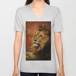 Lion Portrait (Color) Unisex V-Neck