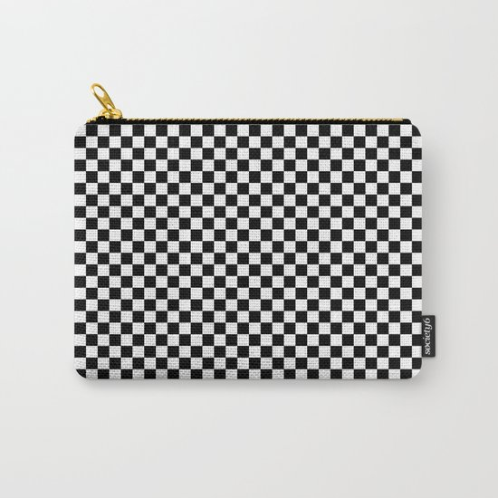 Black White Checks Carry-All Pouch