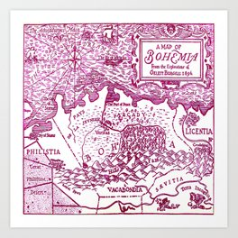 Map of Bohemia (pink) Art Print