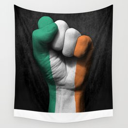 Irish Flag on a Raised Clenched Fist Wall Tapestry