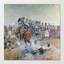 C.M. Russell Bronc Breakfast  Canvas Print
