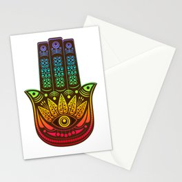 Colorful Hamsa hand - evil eye Stationery Cards