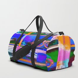 blue classic taxi car with painting abstract in green pink orange  blue Duffle Bag
