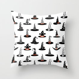 Halloween- Witch hats on White Throw Pillow