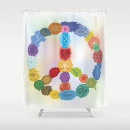 Peace Sign In Colors Shower Curtain