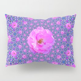 ORNATE THOUSANDS PINK ROSES & BLUE  ABSTRACT Pillow Sham