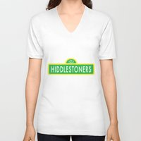 sesame street V-neck T-shirts featuring Hiddlestoners Sesame Street by Rowena Leavy