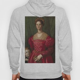 A Young Woman and Her Little Boy OIl Painting by Agnolo Bronzino Hoody