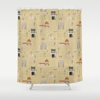 florence Shower Curtains featuring Florence by Charlotte Langstroth